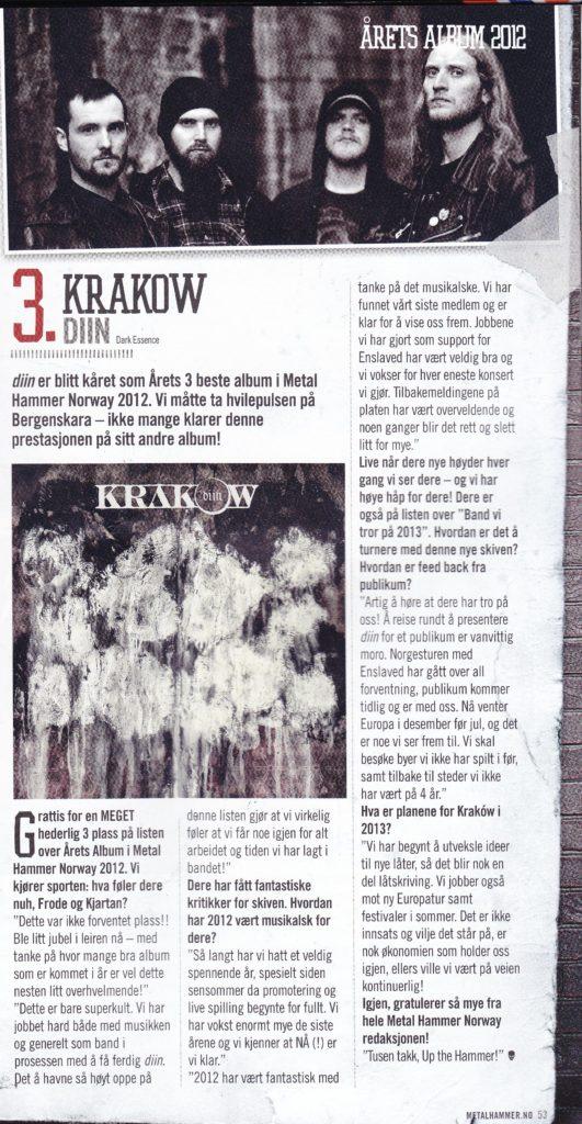 Krakow MHN bestof2012 1 Krakow does well in Metal Hammer Norway's best of 2012 poll Dark Essence Records