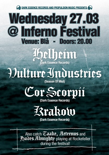 InfernoFlyer FB 2013 DARK ESSENCE RECORDS FIELDS A TOTAL OF SEVEN BANDS AT THIS YEAR'S INFERNO FESTIVAL Dark Essence Records