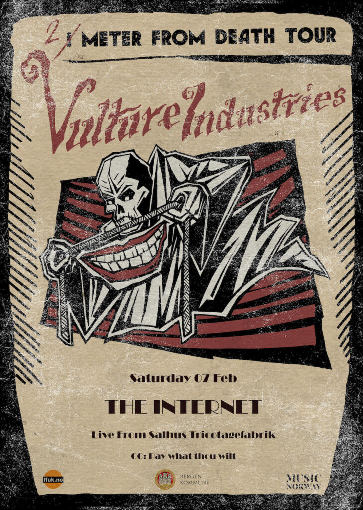 Vulture Industries @ Salhus Tricotagefabrik Poster small Vulture Industries stream concert Dark Essence Records